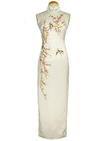 Cut-in Shoulder Stunning Tao Hua Embroidered Silk Brocade Ankle-length Cheongsam