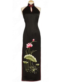 Lotus Embroidered Half-Back Style Silk Brocade Cheongsam
