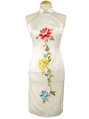 White Silk Brocade Embroidered Peony Knee-length Cheongsam