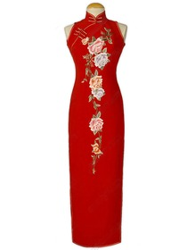 Traditional Peony Embroidered Silk Cheongsam