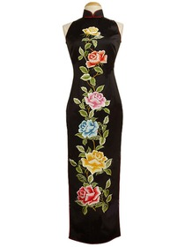 Royal Silk Brocade Peony Embroidery Cheongsam