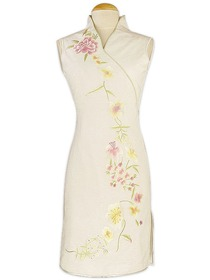 Natural White Entrancing V-neck Flower Embroidery Silk Dupion Cheongsam