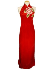 Splendid Peony Embroidered Silk Crepe Satin Cheongsam