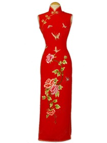 Prosperous Dancing Butterflies and Blooming Peony Silk Crepe Satin Cheongsam