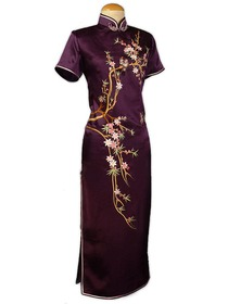 Elegant Peach Blossom Embroidered Silk Crepe Satin Cheongsam