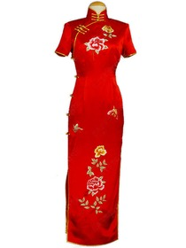 Traditional Short Sleeve Embroidered Silk Brocade Cheongsam