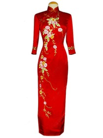Well-off Floral Embroidery 3/4-Length Silk Brocade Cheongsam