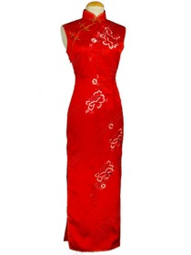 Jubilant Peony Embroidered Silk Brocade Sleeveless Cheongsam