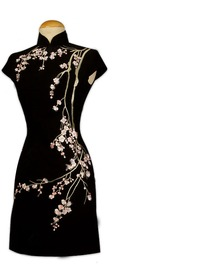 Cute Plum Blossom Embroidered Silk Brocade Cheongsam