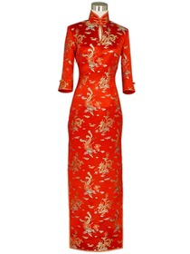 Mandarin Collar Single-line Button Dragon and Phoenix Silk Brocade Cheongsam