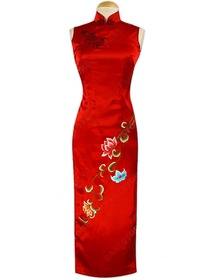 Feminine Lotus Embroidery Silk Brocade Cheongsam