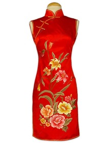 Jubilant Floral Embroidered Silk Brocade Cheongsam