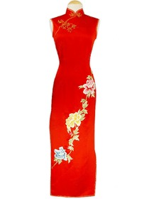 Elegant Silk Brocade Peony Embroidery Wedding Qipao