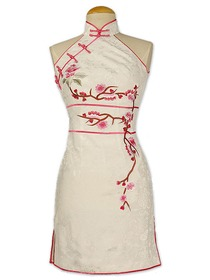 White Plum Blossom Embroidered at front and back Silk Crepe Satin Wedding Cheongsam