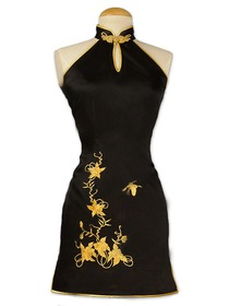 Black Phoenix Button Classical Gold Flower Embroidered Silk Brocade Wedding Cheongsam