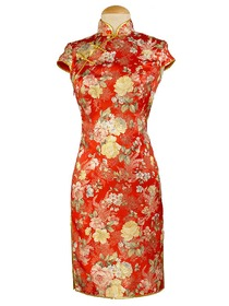 Traditional Mandarin Collar Single-line Button Cap Sleeve Silk Brocade Cheongsam