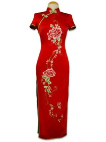 Red Short Sleeve Butterfly Button Elegant Peony Embroidery Silk Brocade Wedding Cheongsam