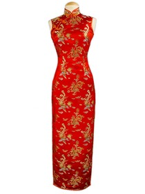 Traditional Mandarin Collar Phoenix Button Ankle-length Silk Brocade Wedding Cheongsam