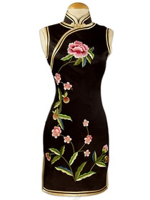 Junoesque Peony Embroidered Silk Brocade Wedding Cheongsam