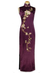 Purple Stunning Peach Blossom Embroidered Silk Crepe Satin Wedding Cheongsam