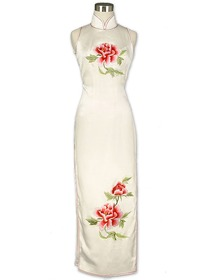 White Fantasy Peony Embroidered Silk Crepe Satin Cheongsam