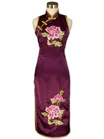 Purple Gourd Button Peony Embroidered Silk Crepe Satin Cheongsam