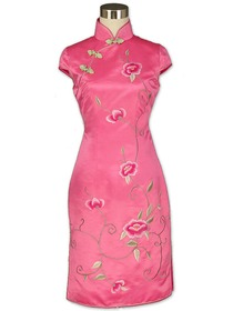 Pink Cap Sleeve Flourishing Floral Embroidered Silk Brocade Cheongsam