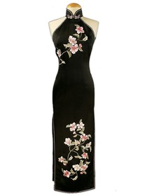 Blooming Flowers Embroidered Silk Brocade Wedding Cheongsam