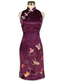 Purple Frog Button Butterflies Embroidered Silk Crepe Satin Cheongsam