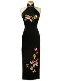 Romantic Blooming Flowers And Flying Butterflies Embroidered Silk Brocade Cheongsam