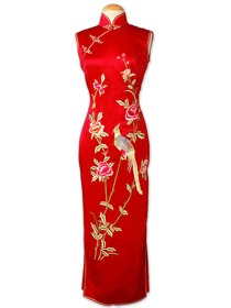 Red Frog Button Jubilant Phoenix and Peony Embroidered Silk Brocade Cheongsam