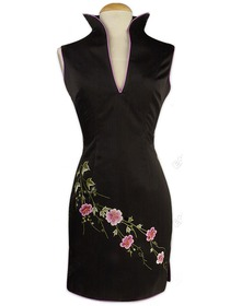 Traditional Slit Collar Peony Embroidered Silk Brocade Mini Cheongsam