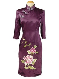 Purple Phenix Button Three Quarter Sleeve Graceful Peony Embroidered Silk Crepe Satin Dress