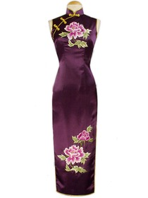 Purple Gourd Button Peony Embroidery Silk Crepe Satin Elegant Cheongsam