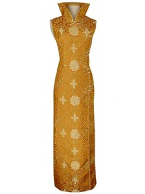 Gold Flared collar Silk Brocade Riches and Honor Flowers Cheongsam