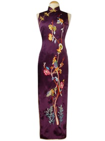 Purple Gourd Button Embroidered with resting pheonix on the blossoming tree 100& Pure Silk Cheongsam
