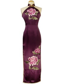Purple Court Button Peony Embroidery Silk Crepe Satin Cheongsam