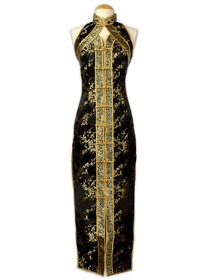 Black Mandarin Collar Sleeveless Tea-length Silk Brocade Cheongsam