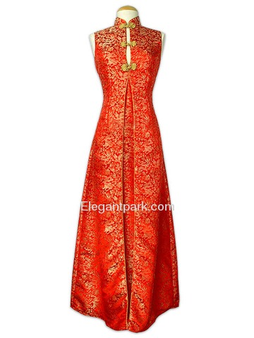Mandarin Collar Frog Button Ankle-length Dragon Pattern Silk Brocade Dress