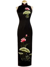 Blossomy Lotus Embroidered Silk Brocade Chinese Style Dress
