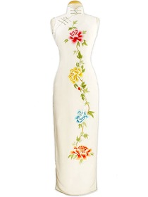 Graceful Peony Embroidered Silk Brocade Wedding Cheongsam