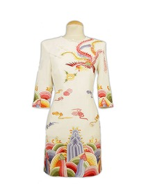 White Phoenix and Clouds Embroidered Silk Brocade Wedding Cheongsam