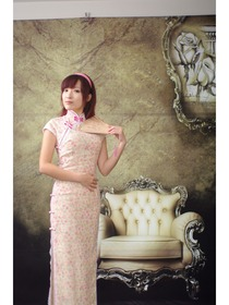 Elegant Floweret Cotton Mixed Polyester Improved Cheongsam/Chinese Dress