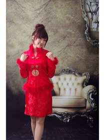 Red Long Sleeve Phoenix Tail Brocade Wedding Cheongsam Suit