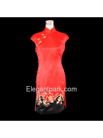 Red/black Silk Brocade With Embroidery Wedding Cheongsam
