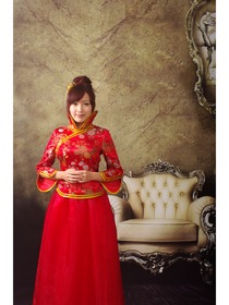 Red Funnel Collar Three Quarter Peony Brocade with Voile Cheongsam Dress