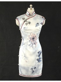 Grey Mandarin Pure Silk Wedding Cheongsam Dress