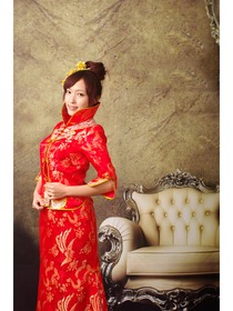 Red Jubilant Dragon and Phoenix Brocade Cheongsam Suit