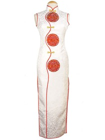 Mandarin Collar Gourd Button Full Button Dragon Pattern Ankle-length Silk Brocade Cheongsam