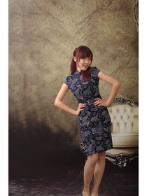 Cap Sleeve Blue Butterfly Indigo Cotton Cheongsam Dress